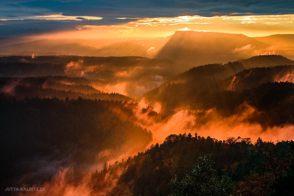 Brennende Nebel - Blick in die Sächsische Schweiz